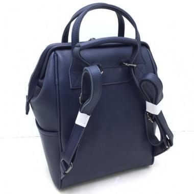 Кожаный рюкзак-трансформер MAMMIS.ТЕМНО-СИНИЙ.