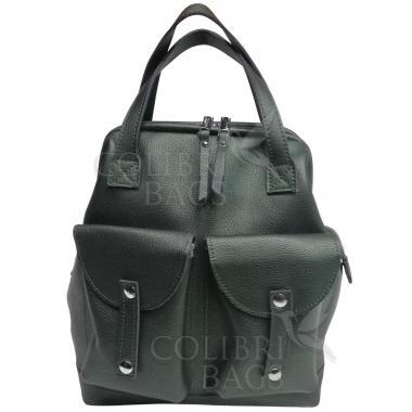 Кожаный рюкзак-трансформер MAMMIS SIGMA. Изумруд