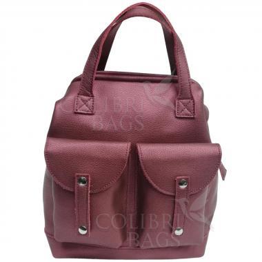 Кожаный рюкзак-трансформер MAMMIS SIGMA. Винный металлик