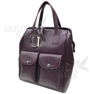 Кожаный рюкзак-трансформер Mammis с карманами. Ежевичный.