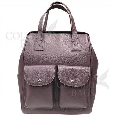 Кожаный рюкзак-трансформер Mammis с карманами. Лиловый.