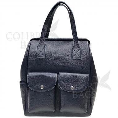 Кожаный рюкзак-трансформер Mammis с карманами. Темно-синий.