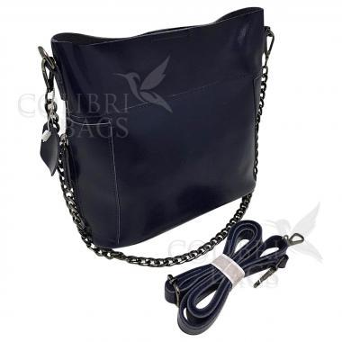 Женская кожаная сумка Megan. Темно-синий