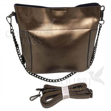 Женская кожаная сумка Megan. Бронза