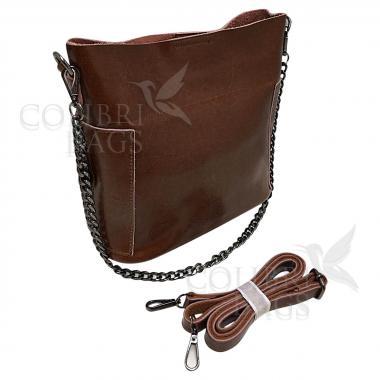 Женская кожаная сумка Megan. Охра