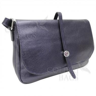 Женская кожаная сумка Nata. Темно-синий перламутр