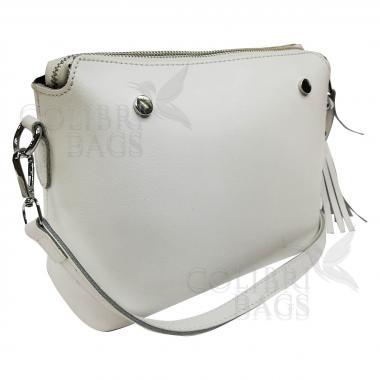 Женская кожаная сумка Ninel. Белый