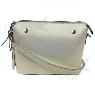 Женская кожаная сумка Ninel. Белый перламутр