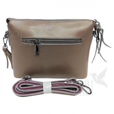 Женская кожаная сумка Ninel. Бежевый перламутр