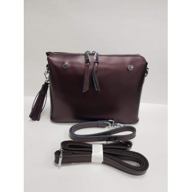 Женская кожаная сумка Ninel. Кофе жемчужный