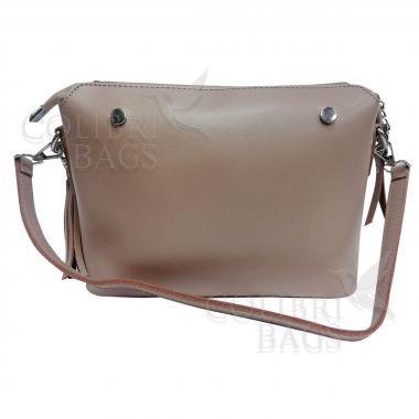 Женская кожаная сумка Ninel. Пудровый.