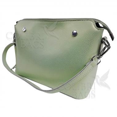 Женская кожаная сумка Ninel. Салатовый перламутр.