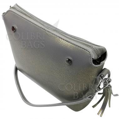 Женская кожаная сумка Ninel. Серый перламутр.