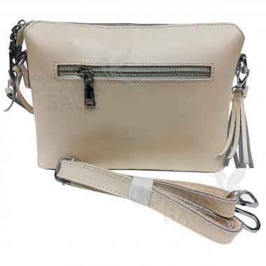 Женская кожаная сумка Ninel. Слоновая кость.