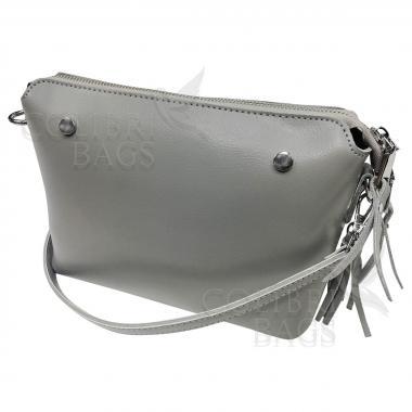 Женская кожаная сумка Ninel. Светло-серый.