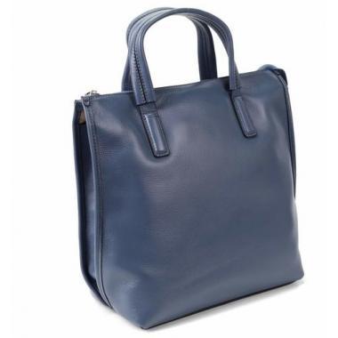 Женская кожаная сумка-шоппер ORSA. ТЕМНО-ГОЛУБОЙ.