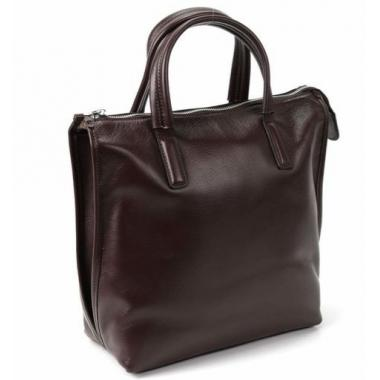 Женская кожаная сумка-шоппер ORSA. ШОКОЛАД.