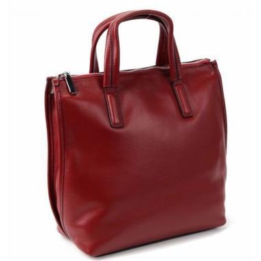 Женская кожаная сумка-шоппер ORSA. КРАСНЫЙ.