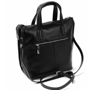 Женская кожаная сумка-шоппер ORSA. ЧЕРНЫЙ.