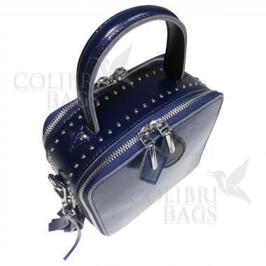 Женская кожаная сумка Quadro. Темно-синий