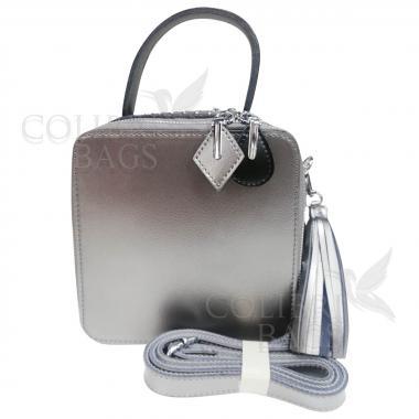 Женская кожаная сумка Quadro. Серебро
