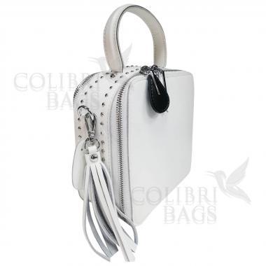 Женская кожаная сумка Quadro. Белый