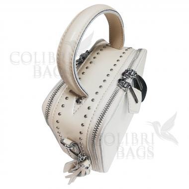 Женская кожаная сумка Quadro. Слоновая кость