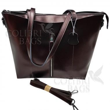 Женская кожаная сумка Richy Casual. Кофе жемчужный