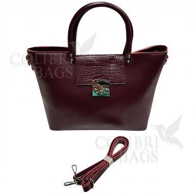 Женская кожаная сумка Richy Piton. Ежевичный