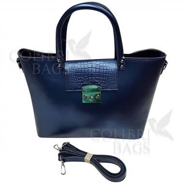 Женская кожаная сумка Richy Piton. Сапфир