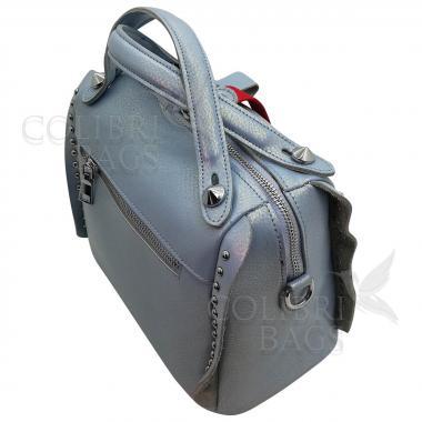 Кожаная сумка Rodrigo. Голубой перламутр.