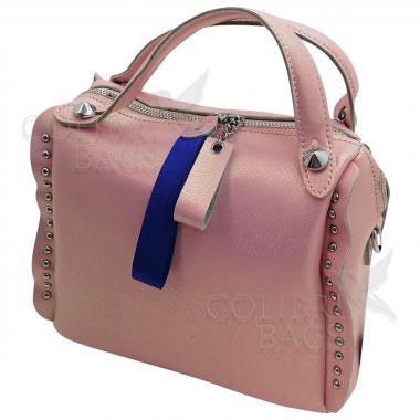 Кожаная сумка Rodrigo. Розовый перламутр.