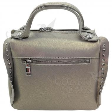 Кожаная сумка Rodrigo. Серый перламутр.