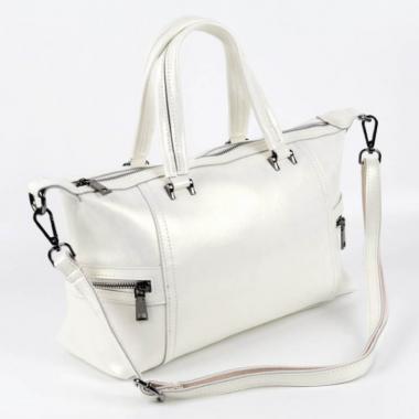 Женская кожаная сумка ROMANIA. Белый перламутр.