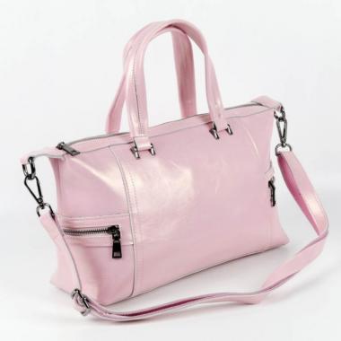 Женская кожаная сумка ROMANIA. Розовый перламутр.