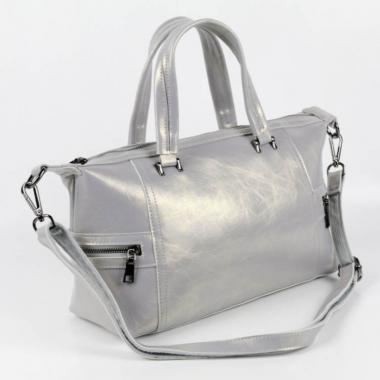 Женская кожаная сумка ROMANIA. Серый перламутр.