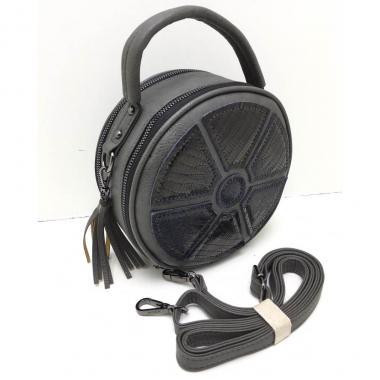 Кожаная сумка-кроссбоди RONDO. Пепельный.