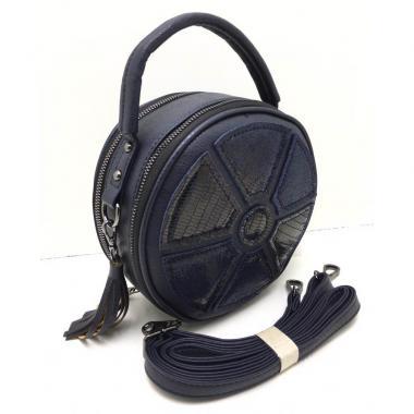 Кожаная сумка-кроссбоди RONDO. Темно-синий.