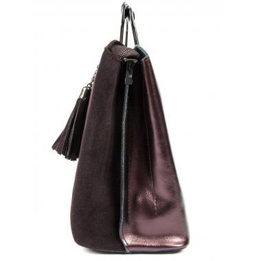 Женская кожаная сумка RUTH ЗАМША. Кофе жемчужный