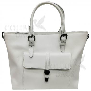 Женская кожаная сумка Sanata. Белый