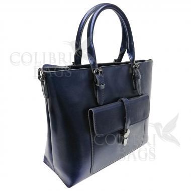 Женская кожаная сумка Sanata. Темно-синий перламутр