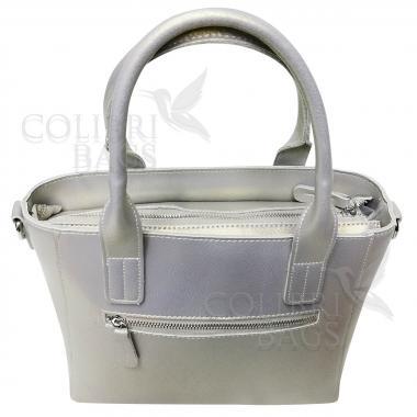 Женская кожаная сумка Siena. Серый перламутр