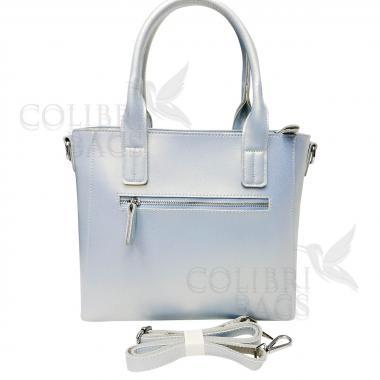 Женская кожаная сумка Siena. Голубой перламутр