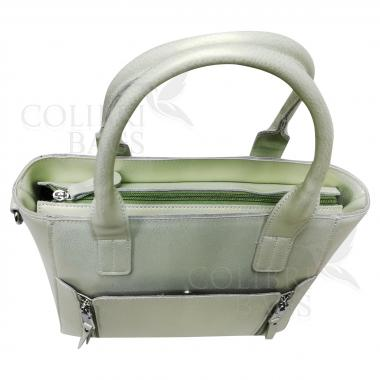 Женская кожаная сумка Siena. Салатовый перламутр
