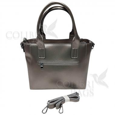 Женская кожаная сумка Siena. Серебро