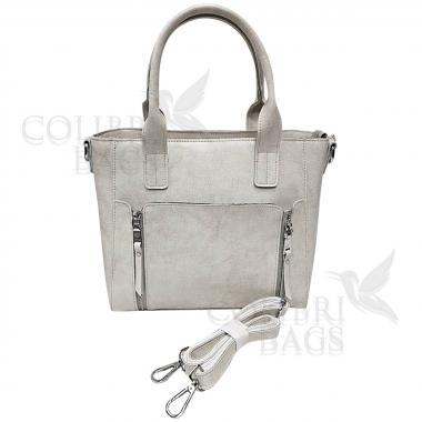 Женская кожаная сумка Siena. Белый перламутр