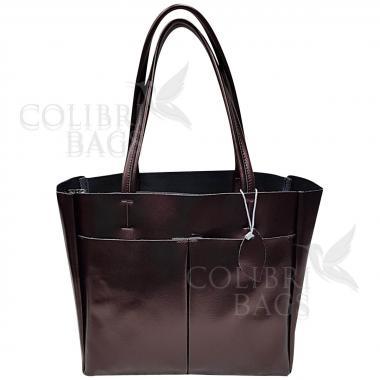 Женская кожаная сумка Sirena. Кофе жемчужный