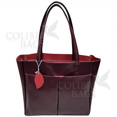 Женская кожаная сумка Sirena. Ежевичный