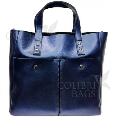 Женская кожаная сумка Sirena Nova. Темно-синий перламутр