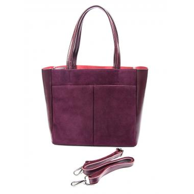 Женская кожаная сумка SIRENA ЗАМША. Ежевичный